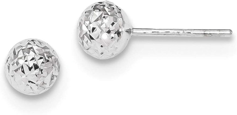 14k White Gold D/C 6mm Ball Post Earrings, 14k White Gold
