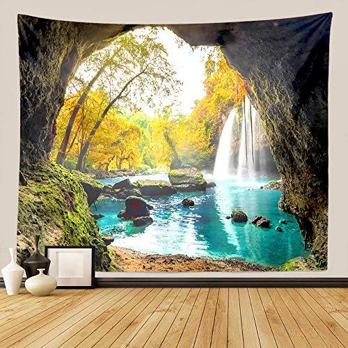 GUORUI - Tapiz decorativo para colgar en la pared con diseño de mandala hindú, bosque verde, para cascada, Tapestry Decoración de Pared para Dormitorio Sala de Estar (L 200x150CM (79'x59'))