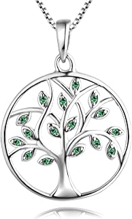 YL Tree Necklace 925 Sterling Silver Tree of Life Pendant Gemstone White/Rose Gold Plated Jewelry