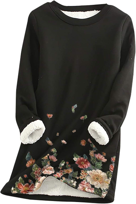 LOVESOO Plus Size Thermal Underwear for Women Long Sleeve Shirts Floral Print Tops Fleece Warm Basic Undershirt
