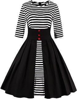 6faea2149d Wellwits Women s Stripes Vintage Retro 1950s Style Swing Cocktail Dress