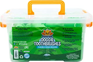 Gentle Disposable Dog Toothbrushes | Soft High Grade Finger Toothbrush with Silicone Bristles for Pet Dental & Oral Care T...