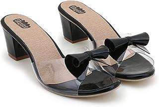 Taydol Women's Fancy Flexible Transparent Block Heel sandals tie