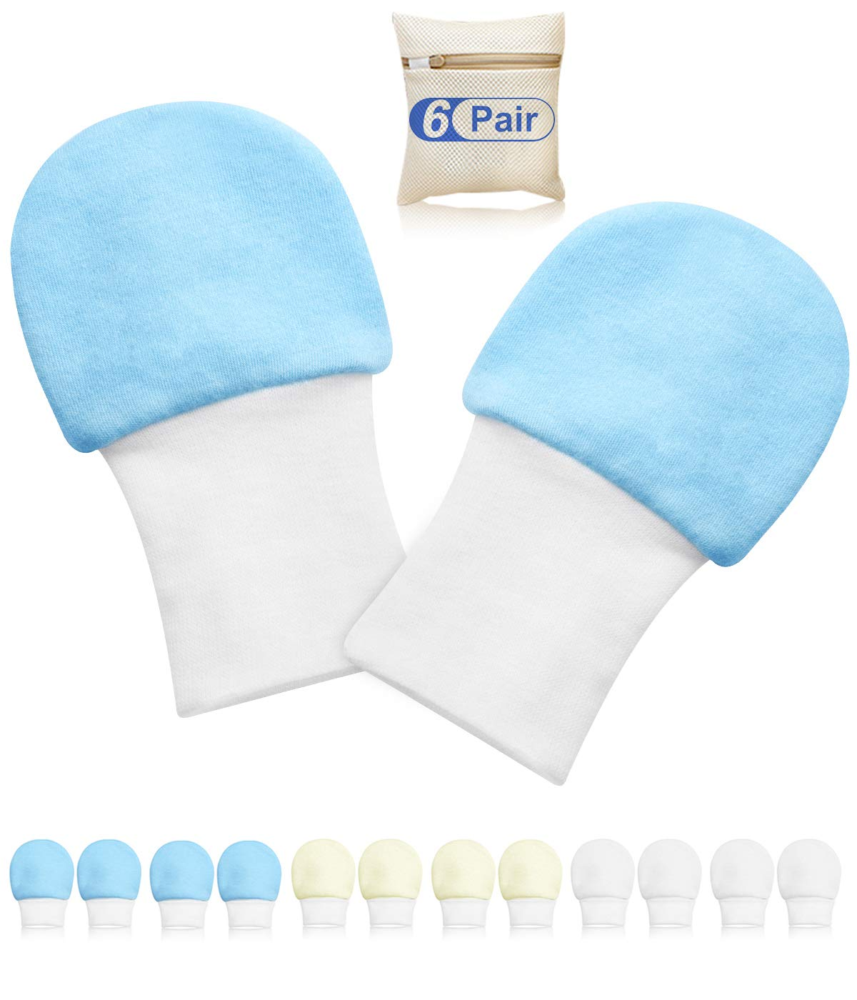 Newborn Baby Mittens Anti Scratch Baby Mittens No Scratch Mittens Baby Gloves for 0-6 Months Boys Girls(6 Pairs)