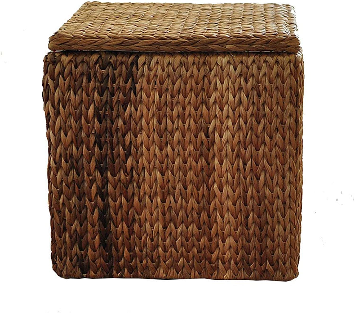 Storage Stool shoes Bench Brown Hand-Woven Square Multifunctional Makeup Stool