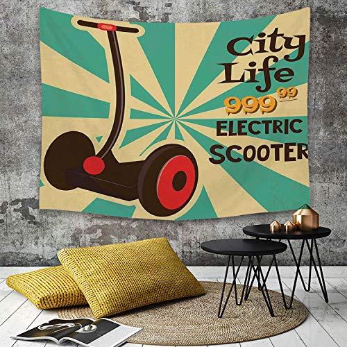 Tapestry Pared paño Mantel Toalla de Playa,Decoración Vintage, Icono de Scooter eléctrico Segway en Primer Plano del Transporte urb,Decoraciones para el hogar para la Sala de Estar Dormitorio