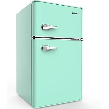 KUPPET Retro Mini Refrigerator 2-Door Compact Refrigerator for Dorm, Garage, Camper, Basement or Office, 3.2 Cu.Ft(Green)