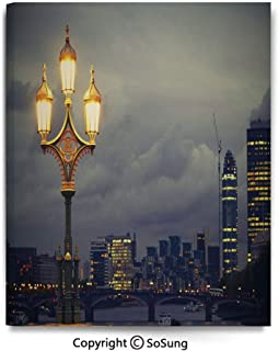 Wall Art Decor High Definition Westminster Bridge London City UK Stormy Moody Weather European Urban Travel Painting Home Decoration Living Room Bedroom Background,16x24inch Light Grey Yellow