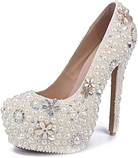 Women's High Heels Wedding Shoes, Shallow Mouth Stiletto Heel High 16Cm Rhinestone Pearl Flower Platform High Heels Sexy Non-Slip for Banquet Wedding to Wear