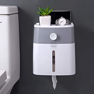 YOHOM Adhesive Toilet Paper Roll Holder with Storage Drawer Bathroom Tissue Box Wall Organizer Shower Facial Tissue Holder...