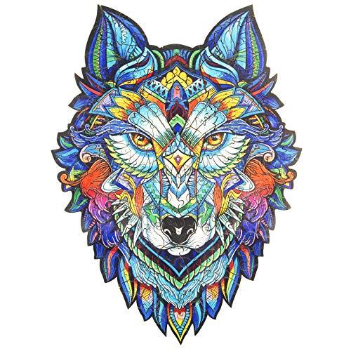 KAAYEE Holz-Puzzles, WolfskopfKAAYEE Holz-Puzzles, Wolf-Puzzles, Bildungs-Freizeit Und Unterhaltung, Kinder Erwachsenen-Intellektuelle Entwicklung Puzzles, 300 Teile, Groß