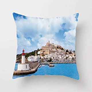 Huayuanhurug Eivissa a Town from Ibiza Balearic Islands Northwest Mediterranean Sea Photography Throw Pillow Cover Cushion Cover for Sofa Bedroom Chair Couch Car 18 x 18 Inch