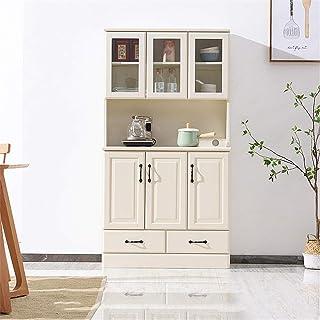 Wguili Bahuts 2 tiroirs Grand Espace Ouvert for Four Micro-Ondes Longue Permanent d'armoires de Cuisine avec Haut Bas Espa...