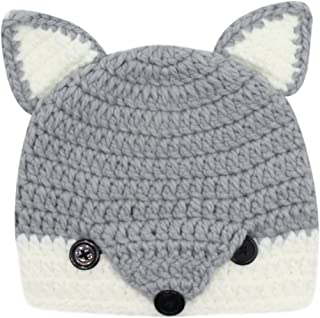 Kids Toddler Cute Fox Animal Design Knitted Hat Crochet Hooded Cap Photography Props Beanies