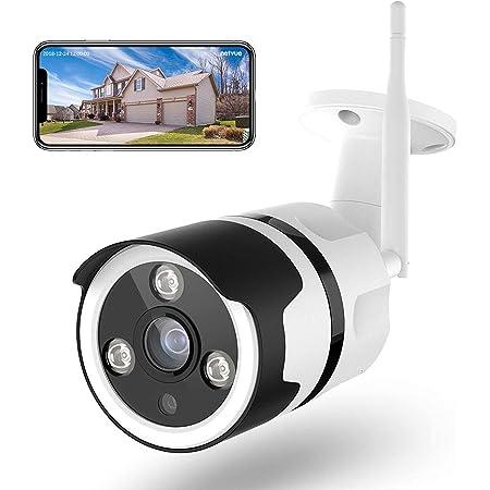 Netvue Caméra de Surveillance WiFi Extérieure, FHD 1080P Vidéo Surveillance Boîte Métallique Compatible avec Alexa, Webcam WiFi avec Vision Nocturne, Détection Mouvement Humain , Audio Bidirectionnel