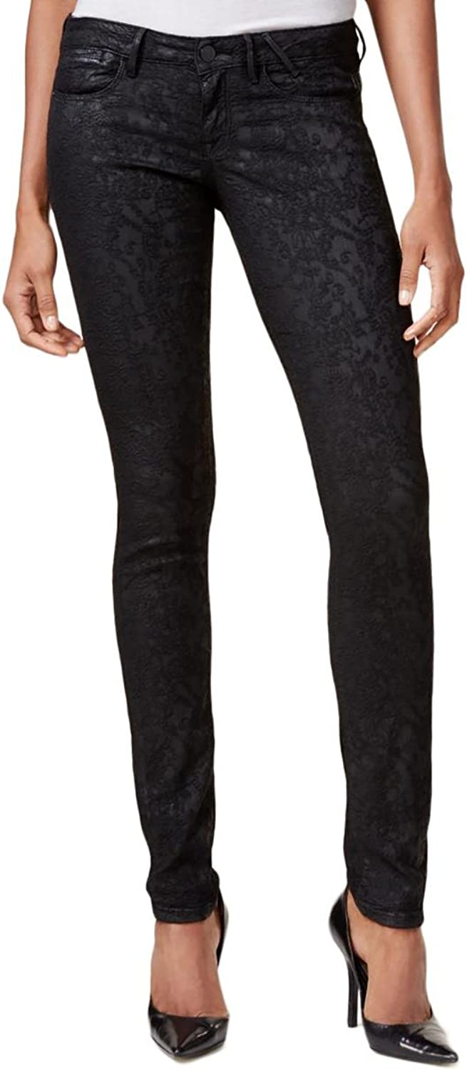 Guess Womens Embroidered Coated Jeggings