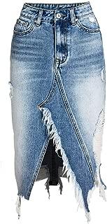neveraway Women's Asymmetrical Hem Bodycon Tassel Denim Highwaist Skirt