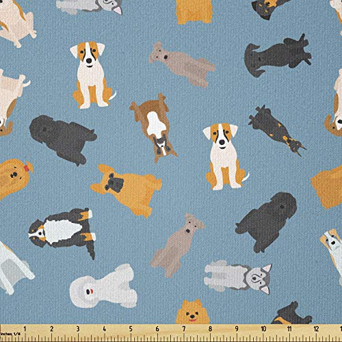 Lunarable Cartoon Fabric by The Yard, Style Dogs Breed French Bulldog Beagle Golden Retriever Pets Graphic Art, Stretch Knit Fabric for Clothing Sewing and Arts Crafts, 1 Yard, White Blue