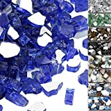 QuliMetal 1/2 Inch Fire Glass, Cobalt Blue High Luster Reflective Tempered Glass Rocks for Indoor Outdoor Fireplaces, Fire Pit, Natural or Propane, Decorative Firepit Glass Pellets, 10 Pound