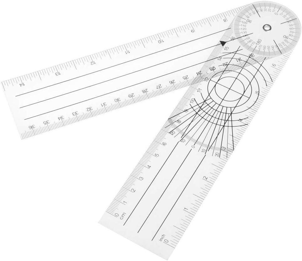 Xiuinserty Goniómetro de 360 grados de ángulo de goniómetro, regla médica en cm