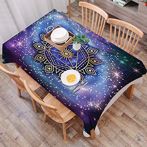 Mantel Antimanchas Rectangular Impermeable,Geometria Sagrada, Armonia Terrestre Celestial Cosmos Forma Mandala en Ar,Manteles Mesa Decorativo para Hogar Comedor del Cocina,(140 x 200 cm/55*78 pulgada)