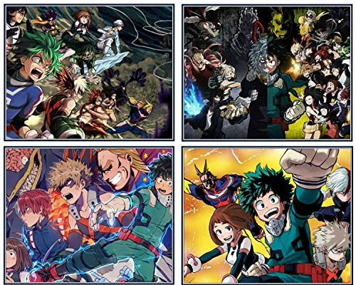 My Hero Academia Posters for Walls Japanese Anime Posters Print (Unframed) Wall Decor Bnha Boys Room Decor (Set of 4, 8X10in)