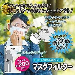 不織布フィルター 花粉・ミクロの汚れを約90%カット! 約1M×2Mの大容量サイズ