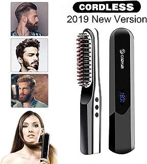 Beard Straightener, Beard Straightener Brush Comb Hair Straightener Brush for Men & Women, USB Rechargeable 2 in 1 Beard Comb Straightener, Portable Cordless Beard For Travel, Black