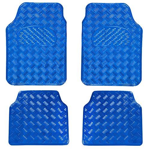 MODAUTO Juego Alfombrillas Antideslizante Imitación Metal para Coche 4 Elementos Azul G802
