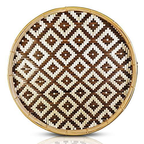 Round Woven Dark Brown Basket Tray, Natural Handmade Flat Bamboo Basket - Versatile Use: Bohemian Wall Décor, Decorative Fruit Baskets, Serving Wicker Bowl.