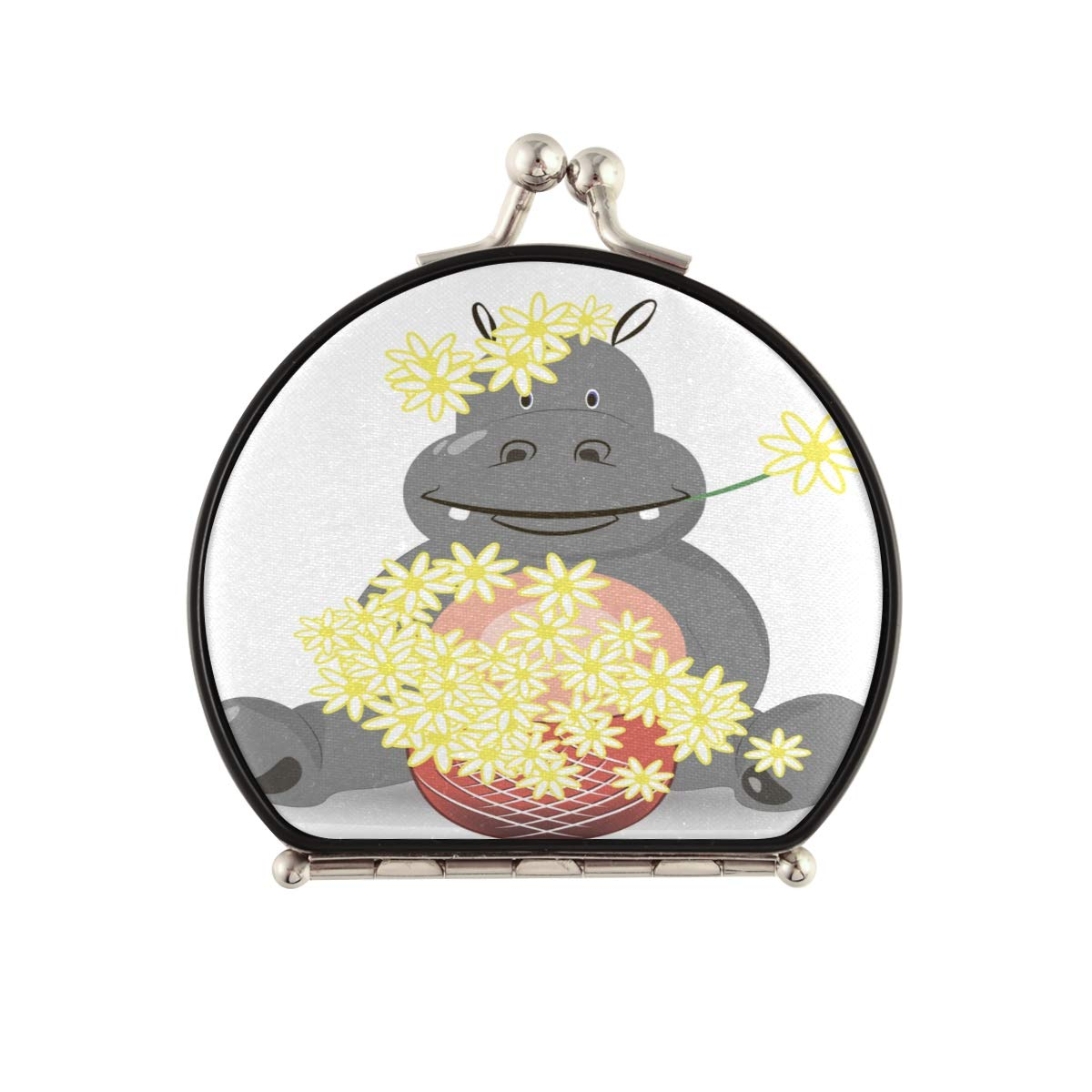 Magnifying Compact Cosmetic Mirror Image Am Hippopotamus Genuine Limited time for free shipping Sitting