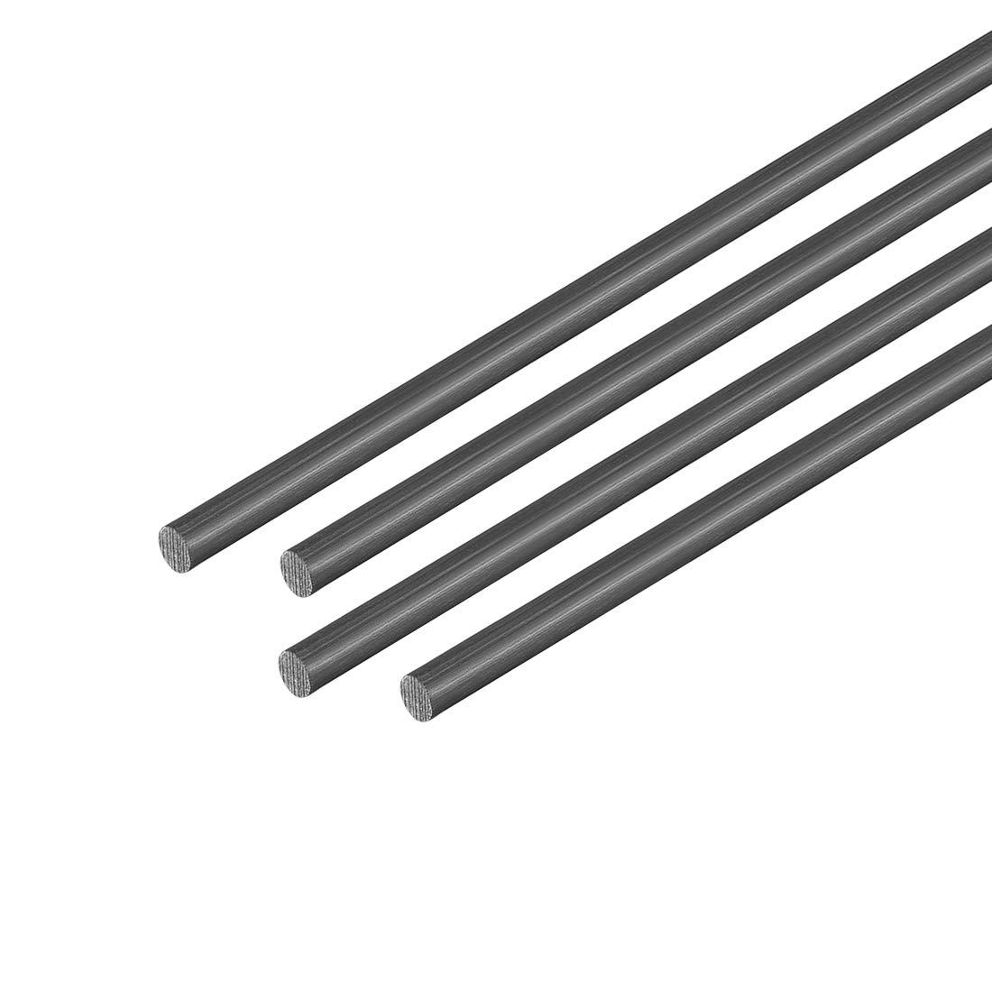 4pcs uxcell Carbon Fiber Rod 3mm 500mm//19.6inch Length Carbon Fiber Round Rod for RC Airplane Matte Pole