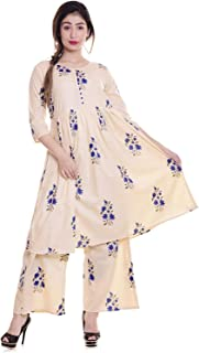 Raina Creation Women's Cotton Kurti with Palazzo Pant Set