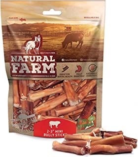 Natural Farm Small Bully Stick Bites 2-3 Inches (1 LB. Value Pack) All Raised Beef Dog Treats | Odor-Free, Grain-Free | Fully Digestible Chews for Small, Medium, Large Breeds