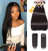 Ossilee Straight Hair Bundles with Closure Brazilian Virgin Hair Three Part Lace Closure with Bundles 8a Straight Hair with Closure (12 14 16+10 Three Part Closure, Natural Color)
