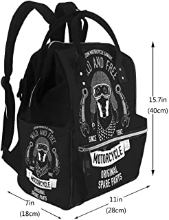 Diaper Backpack Bags Biker Quote with Dog for Garage Service Shirt Spare Parts Image Travel Nappy Bags
