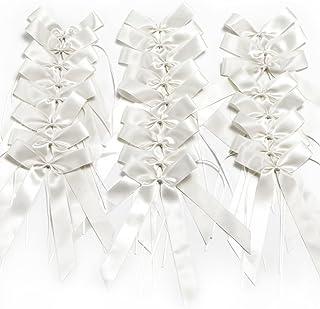 CaPiSo 25 x Antennenschleifen aus Satinband Weiss