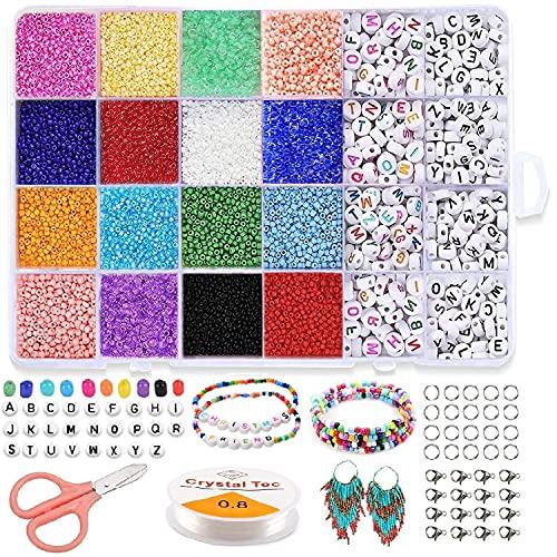 Nvseaty Cuentas de Colores, Set Abalorios para Hacer Pulseras, 16 Colores de...