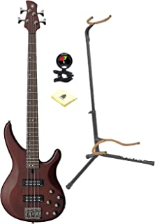 Yamaha TRBX505 TBL 5-String Premium Electric Bass Trans Black Rosewood Fretboard With Ultra 2445BK Basic Guitar Stand, Snark SN5X Clip-On Tuner for Guitar, And Custom Designed Instrument Cloth