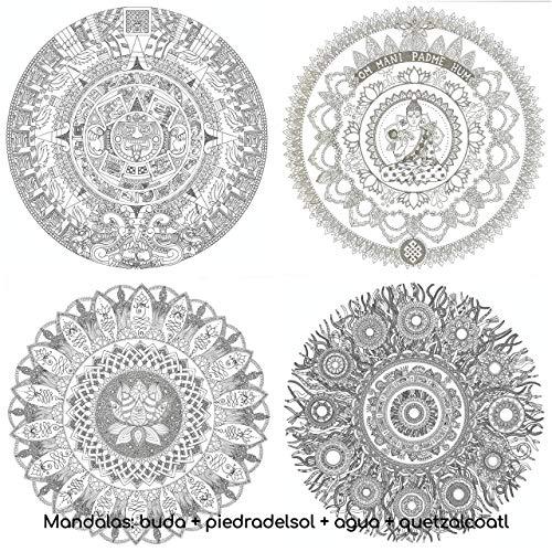 KIT MANDALAS RELAX Para Colorear GIGANTES. 4 laminas incluidas: Buda + Piedra del Sol + Quetzalcoatl + Flor de Loto. Pósters de 50 x 70 CMS para pintar y decorar.