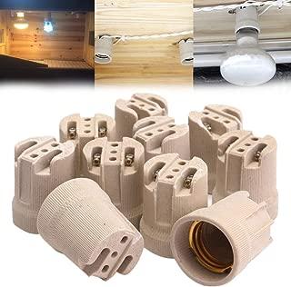 Kamas 10Pcs E27 Screw Bulb ES27 LED Lamp Holder Porcelain Lampholder Ceramic Wall Led Lamp Base Sockets For Indoor Lighting Bases - (Ships From: Australia, Base Type: E27)
