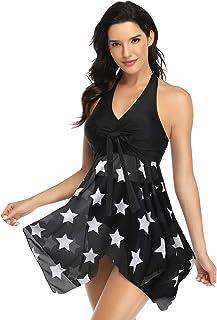 Women's Plus-Size Two Pieces Swim Backless Dresses Peplum Swimsuit Mesh Skirt Bikini Shaping Body Black Tummy Control Biki...