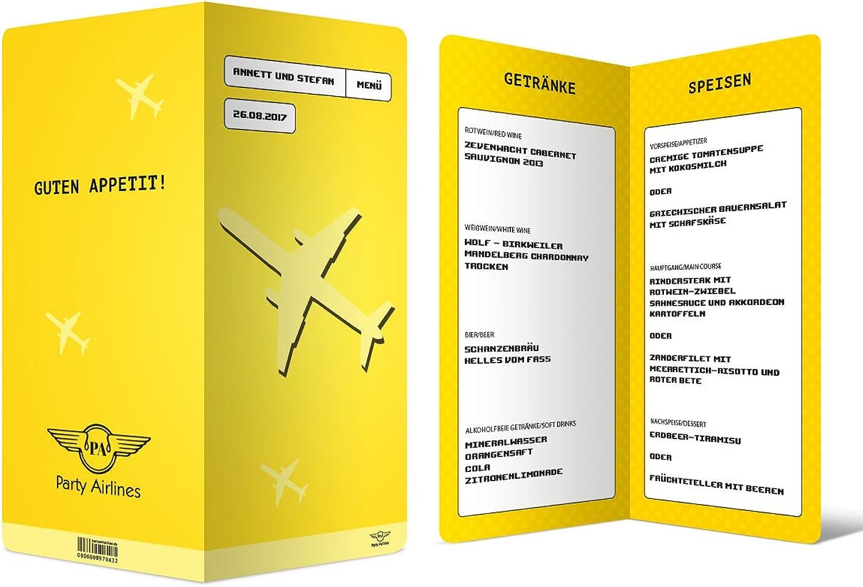 Menükarten Hochzeit (100 Stück) - Flugticket Motiv - Speisekarte Getränkekarte in Gelb B01MZWY2FY  | Ausgezeichnete Leistung
