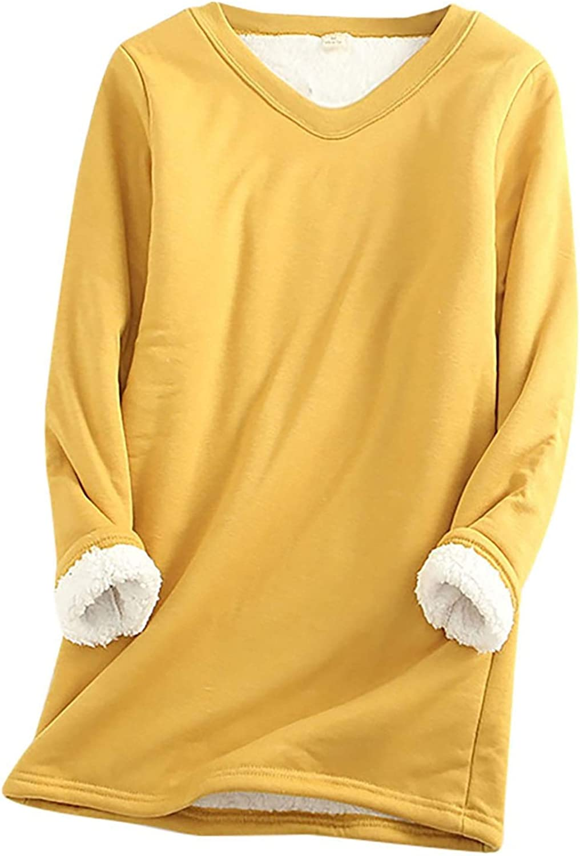 Thatso Women Thermal Underwear, Christmas Solid Warm Sherpa Fleece Lined Crewneck Undershirt Tees Tops Blouse Loungewear(4XL,Yellow)