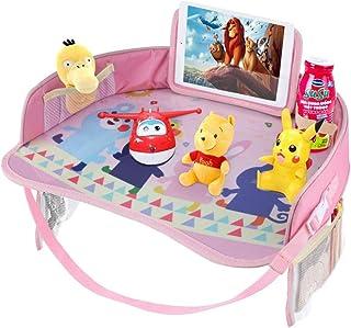 PANXIA Idepet Kids Travel Tray Baby Car Snack Play Bandejas con Tapa De Borrado En Seco Y Bolsillos Grandes De Malla