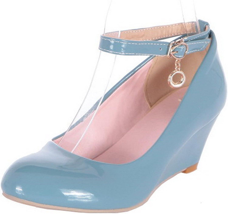 AllhqFashion Women's Closed-Toe Kitten-Heels Solid Buckle Pumps-shoes