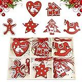 CHEPL Adornos del árbol de Navidad de Madera 30 Piezas Árbol de Navidad Colgante de decoración DIY Artesanía de Madera para decoración de árbol de Navidad