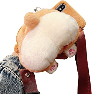 SGVAHY iPhone XR Case, Cute Corgi Shape Coin Purse with Soft TPU Silicone Inner +Furry Corgi Ass Zipper Back Cover Case Cross Body Chain Protective for iPhone XR. (iPhone XR)