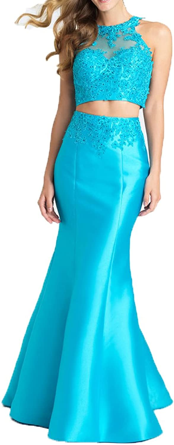 Ellenhouse Women's Long 2 Pieces Mermaid Halter Evening Prom Party Dress EL254