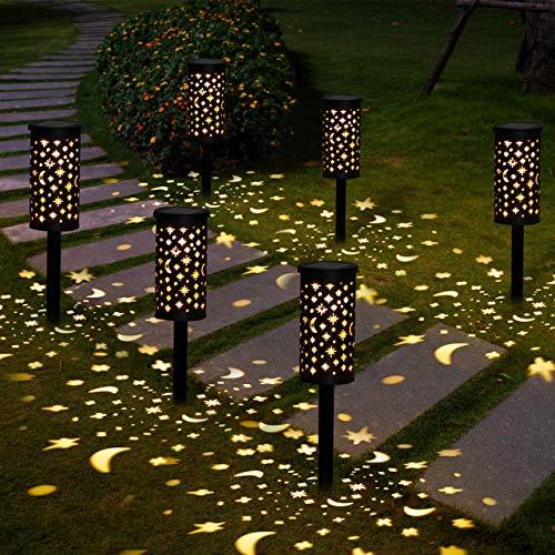 Lámparas Solares para Jardín Golwof 6 Piezas Luz Solar Exterior Jardin Luces Solares Jardin Exterior Decorativas Farolillos Solares Exterior Iluminación de Caminos para Camino Patio Césped Pasillo